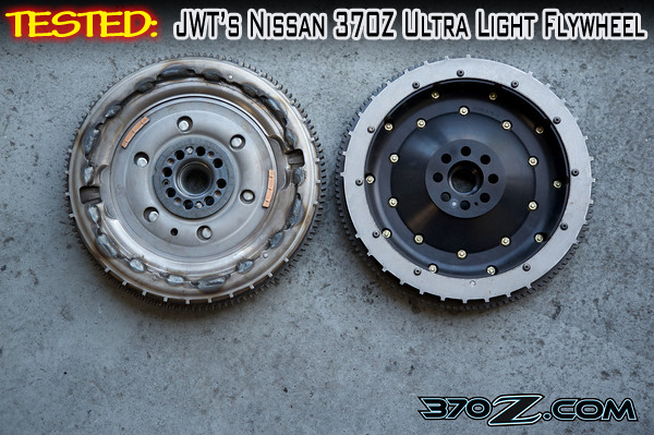 Stock Nissan 370Z dual mass flywheel on right, Jim Wolf Technology lightweight Nissan 370z flywheel on left
