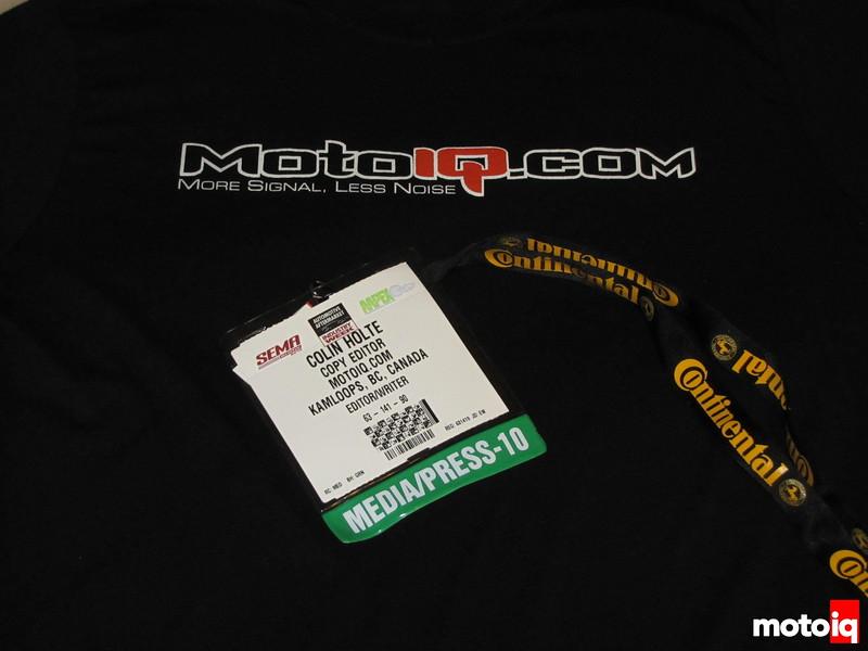 MotoIQ.com T-shirt and SEMA badge